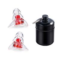 Беруши для музыкантов, диджеев, клубов и сна Silicone Ear Plugs Pro универсальные с контейнером Red