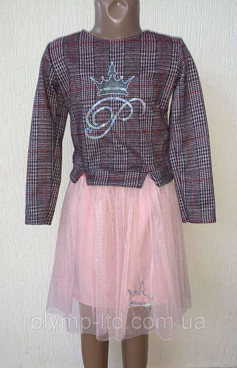 Костюм детский 30-36 р-р кофта тиар клетка вышивка пайетка юбка фатин с вышивкой.