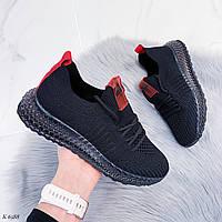 Кроссовки черные с красным женские текстиль, фото 1