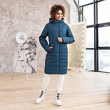 Удлиненная демисезонная куртка цвет джинс