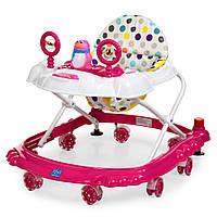 Детские ходунки BAMBI M 3168 розовый, музыкальные зверушки на прорезиненных колесах