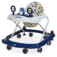 Детские ходунки BAMBI M 3168 синий, музыкальные зверушки на прорезиненных колесах
