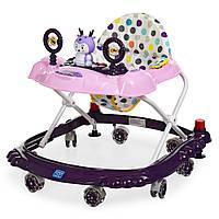 Детские ходунки BAMBI M 3168 фиолетовый, музыкальные зверушки на прорезиненных колесах