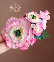 """Розовая заколка/брошь  с цветами """"Розовые эустомы c розами"""". Подарок девушке"""