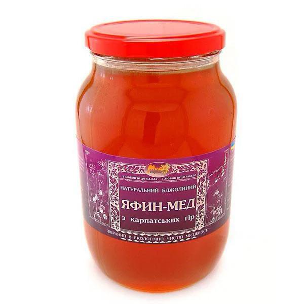 """Мед бджолиний натуральний, сорт: """"Яфин мед"""" 1350 г"""