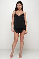 Черный шелковый комплект майка и шортики ТМ Orli