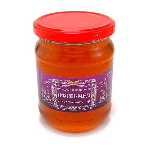 """Мед бджолиний натуральний, сорт: """"Яфин мед"""" 350 г"""