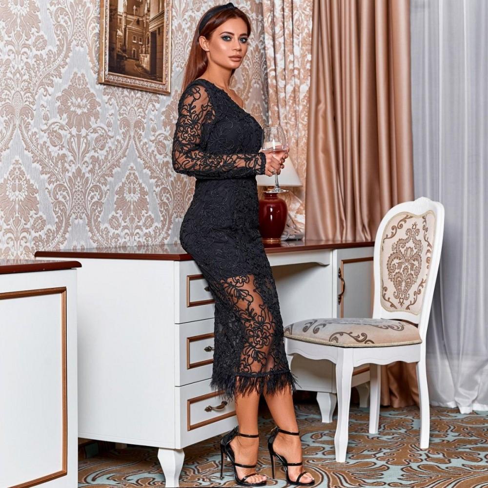 Женское кружевное платье черное