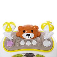 Ходунки детские Мишка BAMBI M 3656A-S-2 бежевый 3в1 с родительской ручкой и качалкой силиконовые колеса, фото 7