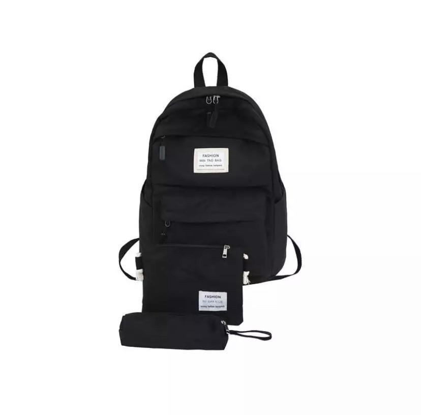 Рюкзак набор женский 3 в 1 ( клатч, пенал) чёрный. (AV237)