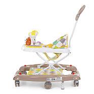 Ходунки детские Мишка BAMBI M 3656A-S-2 бежевый 3в1 с родительской ручкой и качалкой силиконовые колеса, фото 6