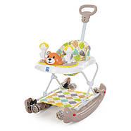 Ходунки детские Мишка BAMBI M 3656A-S-2 бежевый 3в1 с родительской ручкой и качалкой силиконовые колеса, фото 4