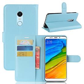 "Чехол IETP для Xiaomi Redmi 5 Plus 5.99"" книжка кожа PU голубой"