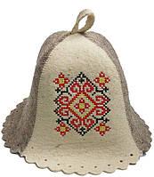 Шапка для бани и сауны из натуральной шерсти - Украинский орнамент красный