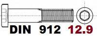 02.01 12.9 DIN 912 (Гвинт з циліндричною головкою і Внутрішнім шестигранником)