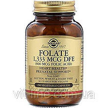 Solgar, Фолієва кислота, 800 мкг, 250 капсул