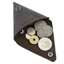 Монетница кожаная ручной работы темно-коричневая HELFORD Тринг brn (1133844781), фото 3