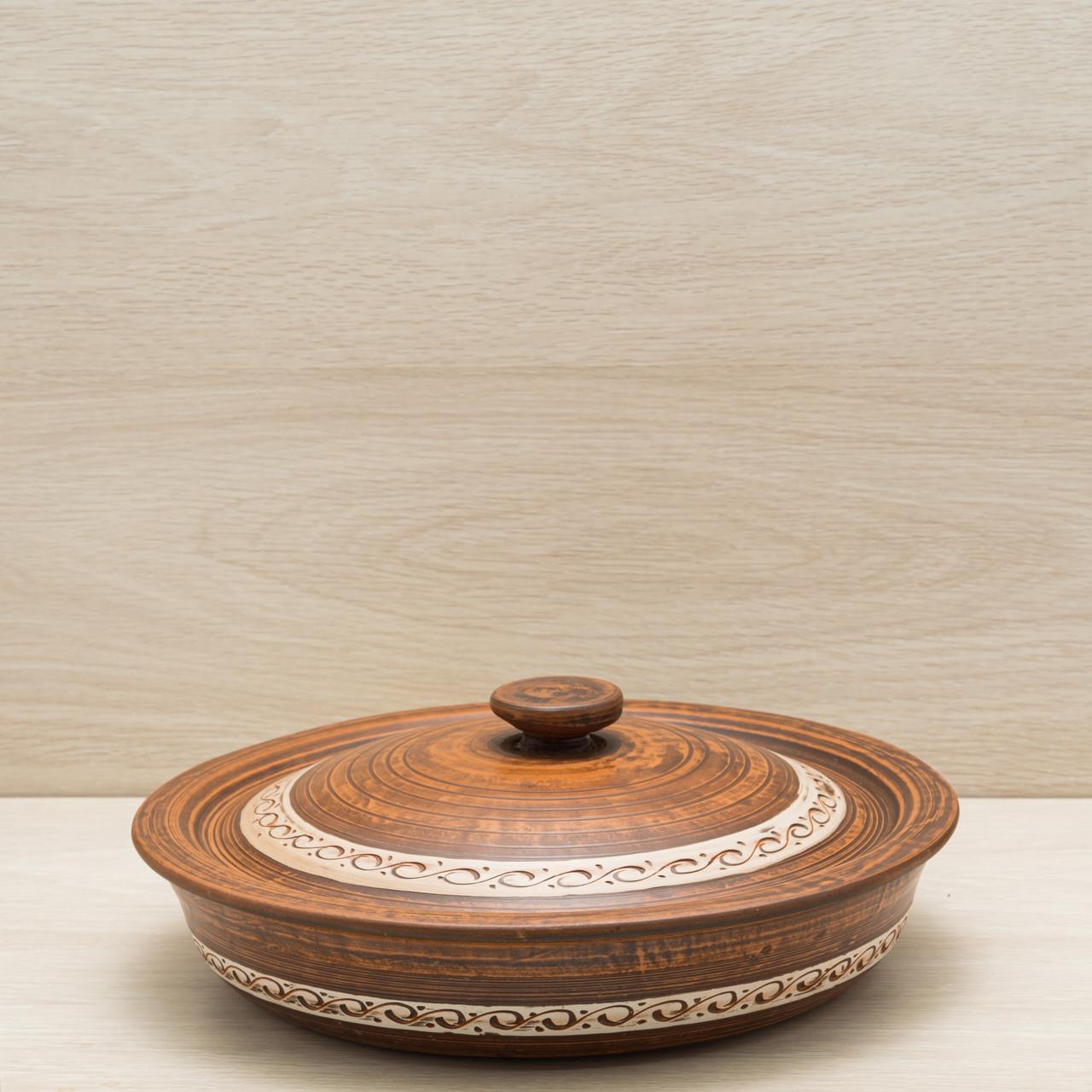 Сковорода с крышкой из красной глины ангоб  28см