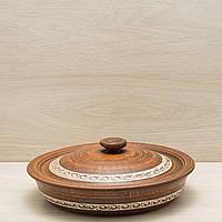 Сковорода с крышкой из красной глины ангоб  28см, фото 1