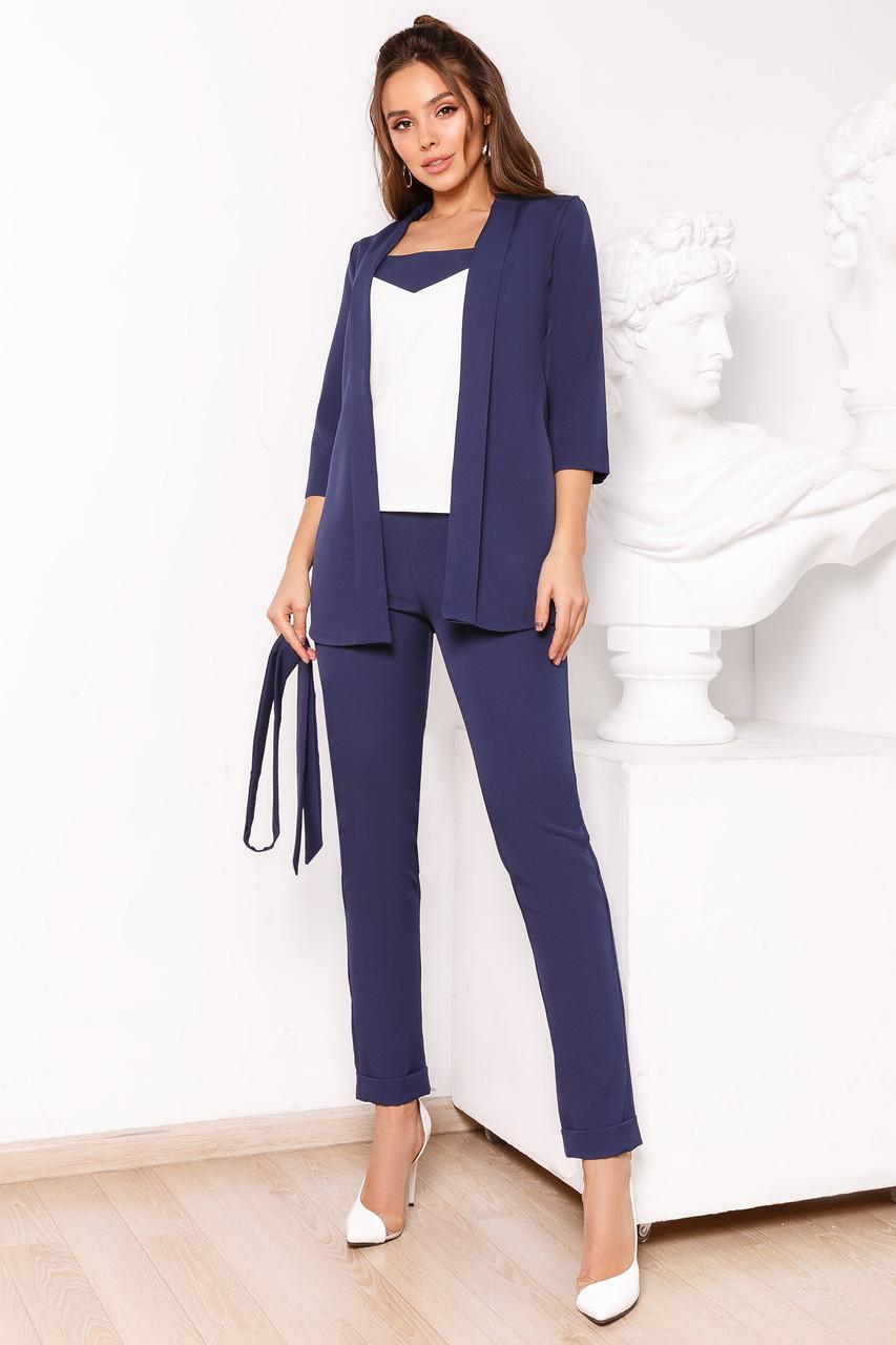 Женский костюм тройка Темно-синий