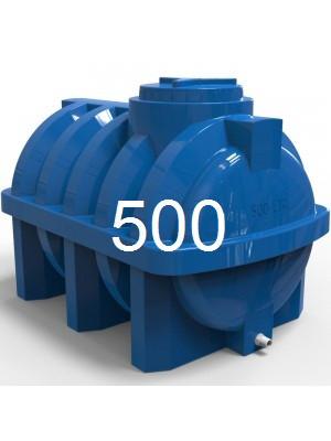 Емкость горизонтальная пластиковая объем 500 литров Р. Емкость армирована рёбрами, транспортная.