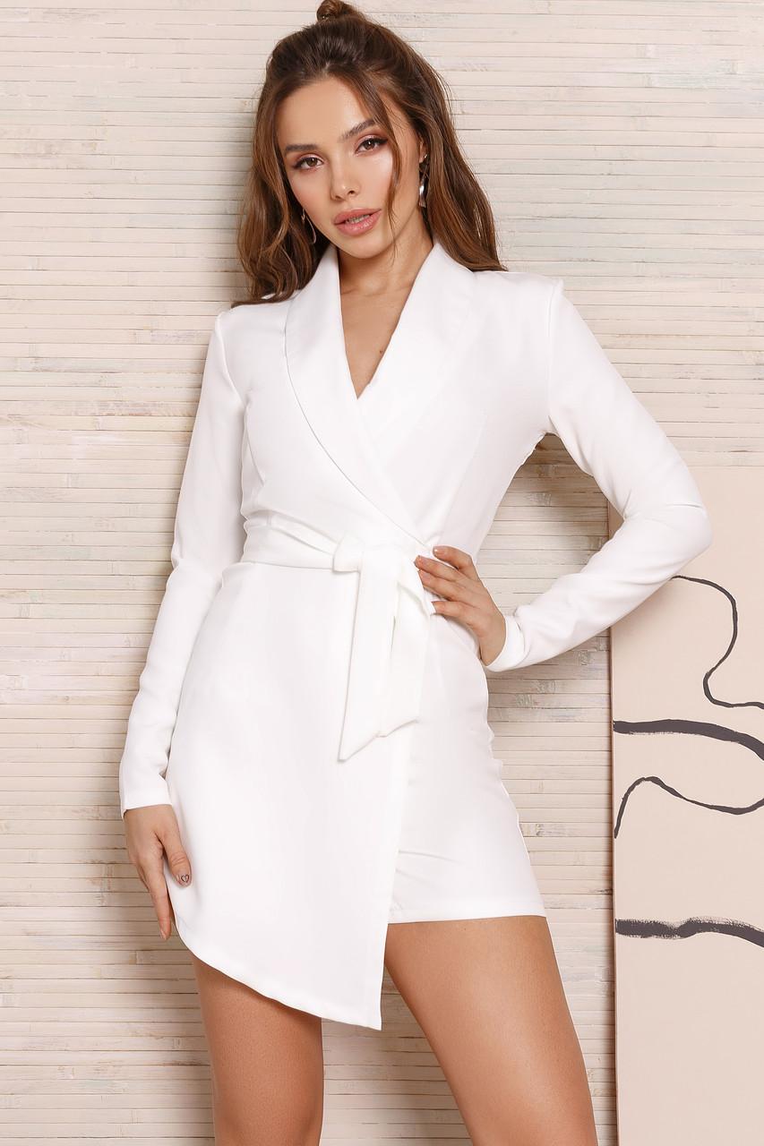 Женский комбинезон -шорты с имитацией юбки Белый