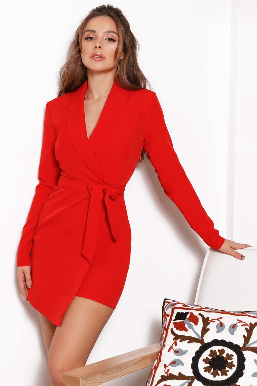 Женский комбинезон -шорты с имитацией юбки Красный