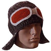"""Мужская вязаная шапка-ушанка коричневого цвета, с декоративными """"очками"""""""