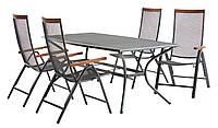 Комплект садовой мебели из металла (4 складных стула + стол 150 см )