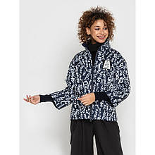 Весенняя куртка короткая с принтом цвет синий