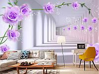 """Флизелиновые Фотообои """"Тоннель с фиолетовыми цветами (1002365)"""" от производителя за 1 день. Любая картинка и размер. ЭКО-обои"""