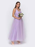 Вечернее длинное сиреневое платье