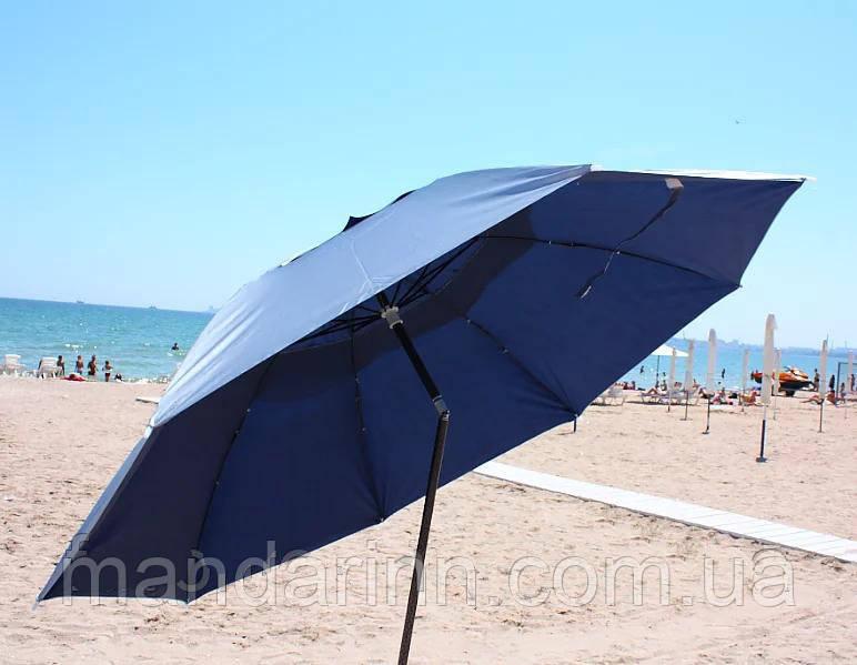 Пляжний зонт компактний, складаний, 160см, блакитний і зелений колір - фото 3