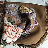 Сибирская красавица 1873-16, павлопосадский платок шерстяной  с шелковой бахромой, фото 8