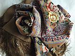 Сибирская красавица 1873-16, павлопосадский платок шерстяной  с шелковой бахромой, фото 10