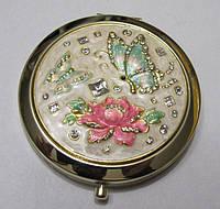 Элитное Зеркальце с перламутрово-бирюзовыми бабочками, 7 см. на подарок 8 марта, День Рождения, 14 февраля