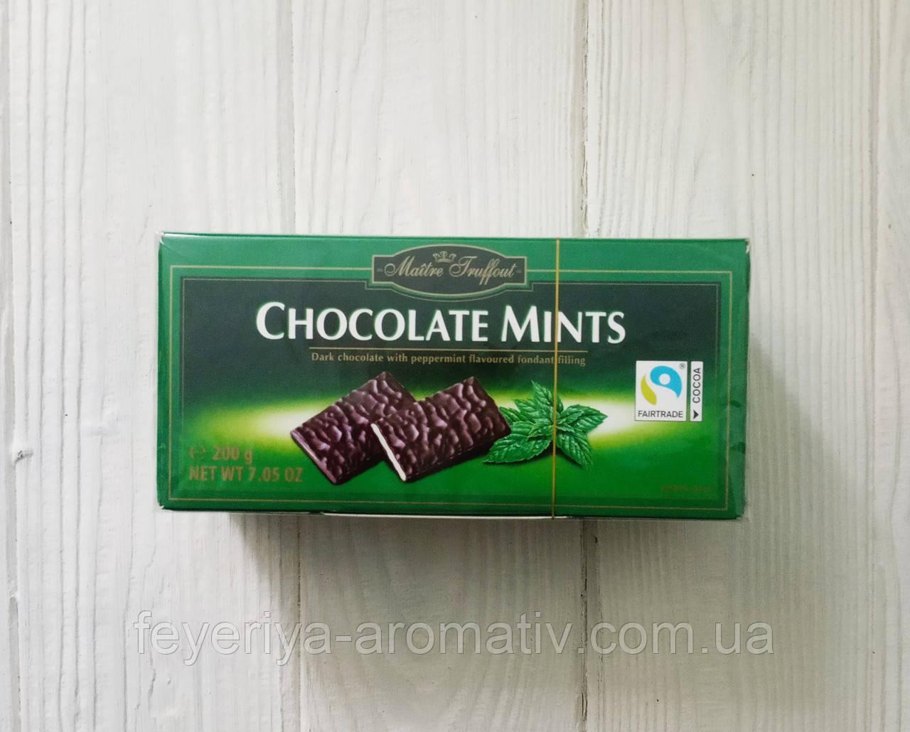 Черный шоколад Chocolade Mints Maitre Truffout , 200 гр