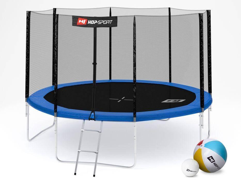 Батут Hop-Sport 12 FT (366 см) с внутренней защитной сеткой + лестница