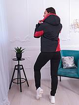 """Демисезонная женская куртка """"Асимметрия"""" с капюшоном и карманами (большие размеры), фото 3"""