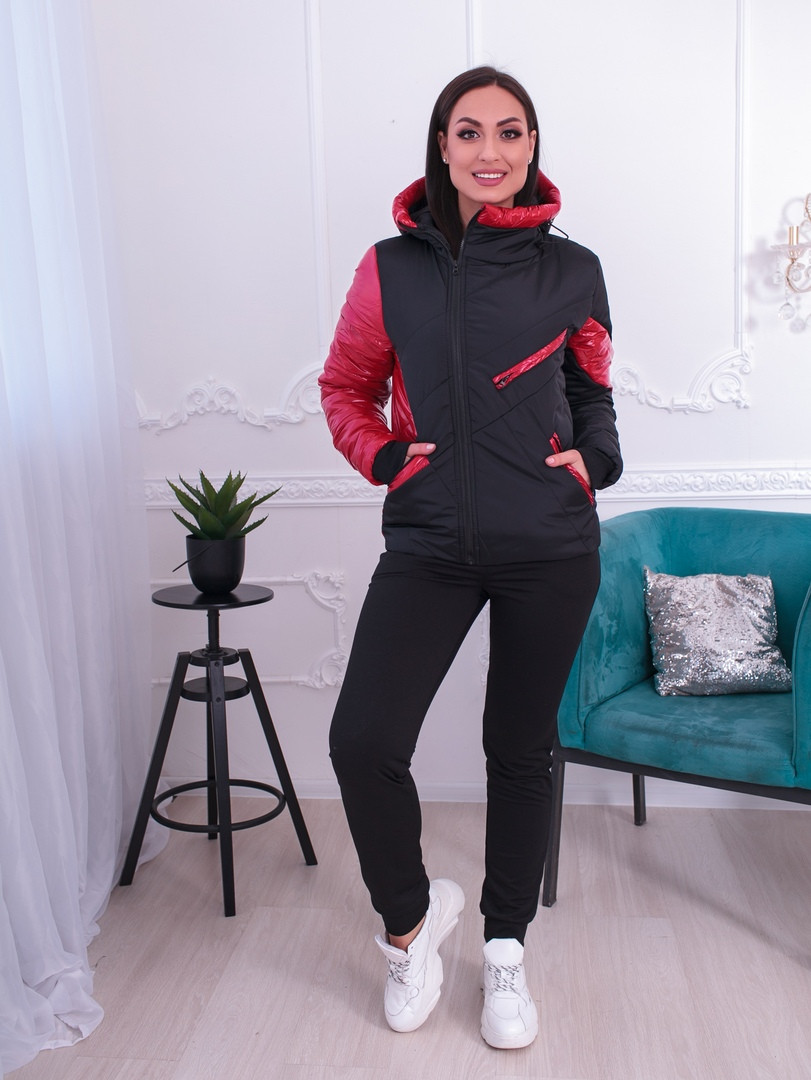 """Демисезонная женская куртка """"Асимметрия"""" с капюшоном и карманами (большие размеры)"""