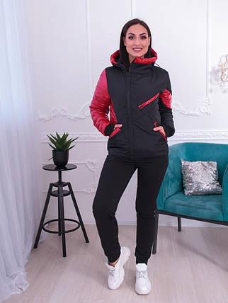 """Демисезонная женская куртка """"Асимметрия"""" с капюшоном и карманами (большие размеры), фото 2"""
