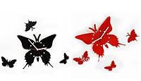 Настенные часы Бабочка: чёрные, красные, 34 х 30 см., подарки на 8 марта, 14 февраля День Влюблённых