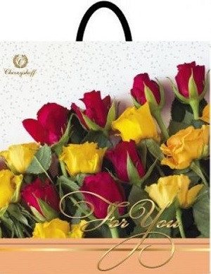 Пакет петля 33*37 Розы на белом
