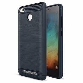 Чехол Carbon для Xiaomi Redmi 3s / Redmi 3 Pro бампер Blue