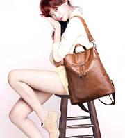 Молодежная сумочка-рюкзак. Цвет - коричневый, фото 1
