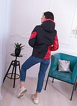 """Демисезонная женская куртка """"Асимметрия"""" с капюшоном и карманами, фото 3"""