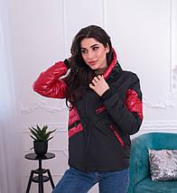 """Демисезонная женская куртка """"Асимметрия"""" с капюшоном и карманами, фото 2"""