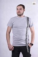 Серая мужская трикотажная футболка повседневная на лето 44-52р