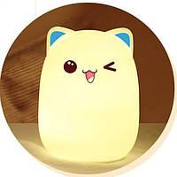 Силиконовый светильник-ночник детский Милый котик StreetGo