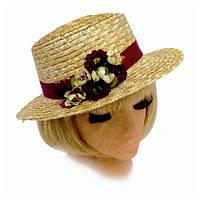 Летняя женская шляпа Канотье соломенная с яркой красной лентой